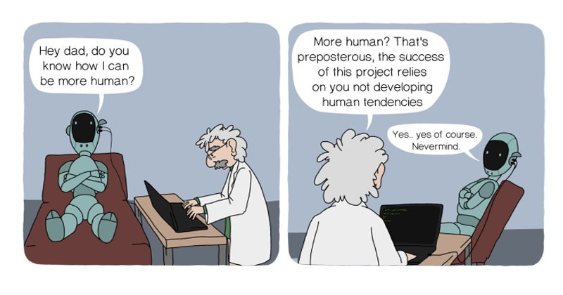 Collection of funny web comic called CARL the robot psychiatrist -