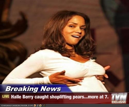 breaking news halle berry caught shoplifting pears more at 7