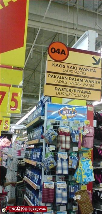 duster,g rated,ladies,pajamas,signs,socks,under,water