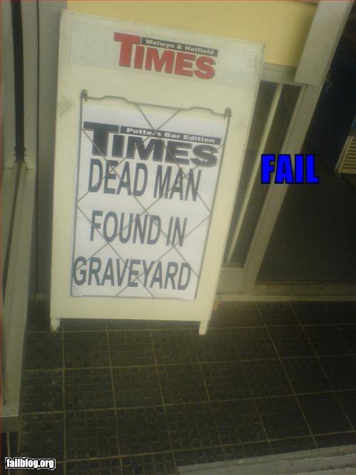 cemetery dead g rated headline man newspaper UK
