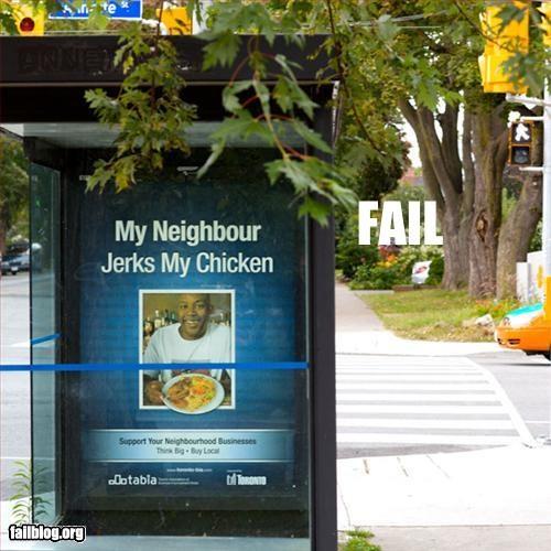 advertising bus shelter chicken innuendo jerk neighbors - 2682845440