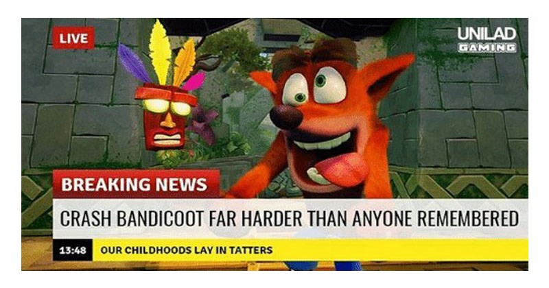 Collection of memes comparing the difficulty of the Crash Bandicoot N. Sane Trilogy to the difficulty of Dark Souls.