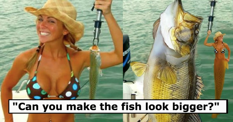 Girl gets swapped with a fish on a hook - 10 of the Most Hilarious Photoshop Trolls on the Internet