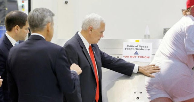 Collection of funny memes featuring Mike Pence in photoshopped situations after his trip to NASA.