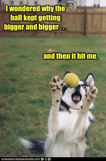 I wondered why the ball kept getting bigger and bigger . . . and then it hit me.