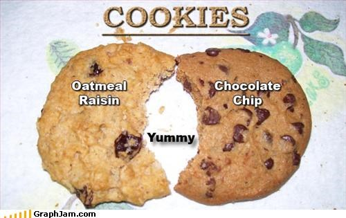 chocolate chip cookies oatmeal raisin venn diagram yummy - 2687940608