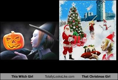 christmas,girl,jack o lanterns,santa,witch