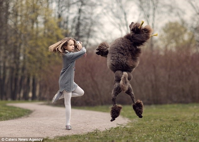 A young ballet dancer, 9 to be exact and from russia is dancing ballet with her brownish black poodle who is also leaping into the air and seems to be dancing ballet as well - cover for a story of a russian photographer that took photos of a young ballet dancer dancing with her dogs.