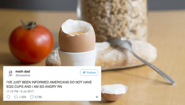 Scottish guy goes on Twitter rant about how everyone in the world is eating their eggs wrong.