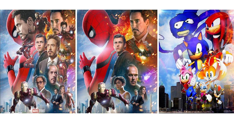 Collection of Spider-Man Homecoming parody posters featuring crying Michael Jordan, extra Robert Downey-Junior, Iron Man, Leonardo DiCaprio, Donald Trump.