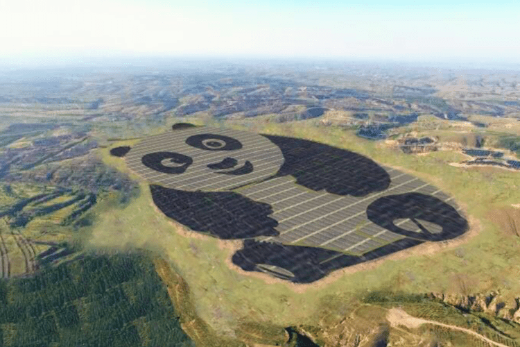 a solar farm that has its solar panels made to look like a giant panda - cover for a story on how china has combined clean energy and their love for giant pandas into one thing.