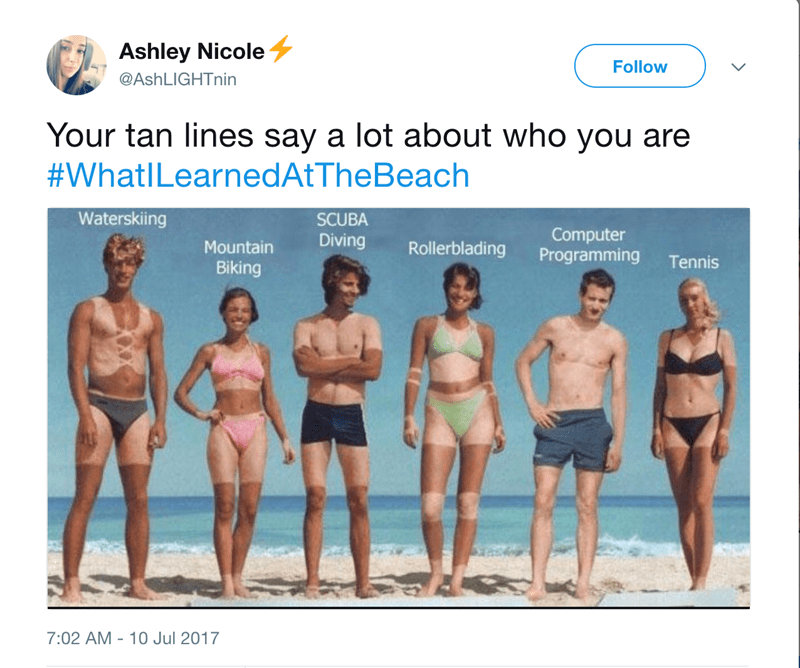 a tweet with a funny picture about how much you can tell about a person in reference to their tan lines -cover photo for a list of tweets and what people learned while at the beach
