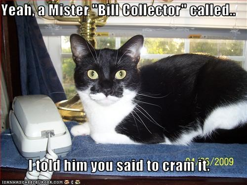 Yeah A Mister Bill Collector Called I Told Him You Said To Cram