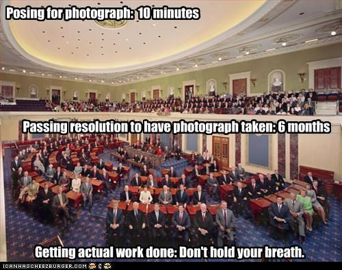 Posing for photograph: 10 minutes Passing resolution to have photograph taken: 6 months Getting actual work done: Don't hold your breath.