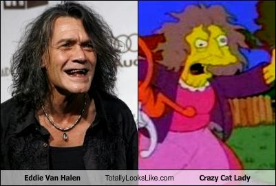animation cartoons crazy cat lady Eddie Van Halen musician the simpsons - 2722089472