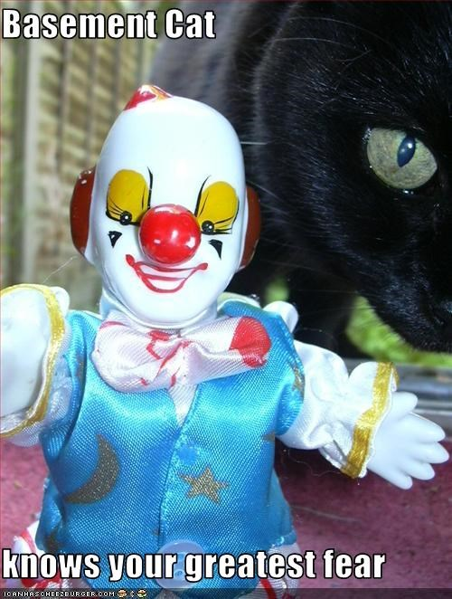 basement cat,clowns,evil,scary