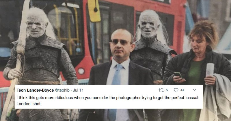 White Walker characters from Game of Thrones wander streets of London and the resulting pictures of reactions are hilarious.