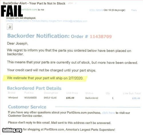 backorder delivery email future g rated late shipment - 2726157056