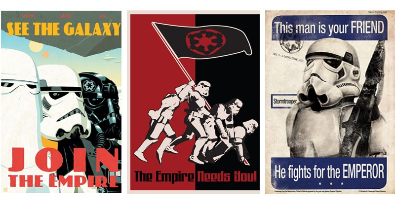 Collection of Imperial Propaganda Posters, Star Wars, the dark side, storm troopers.
