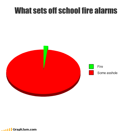 asshole,fire,fire alarm,Pie Chart,school
