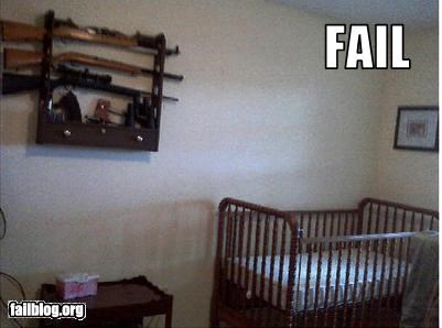 baby bed crib g rated gun rack guns nursery - 2729924864