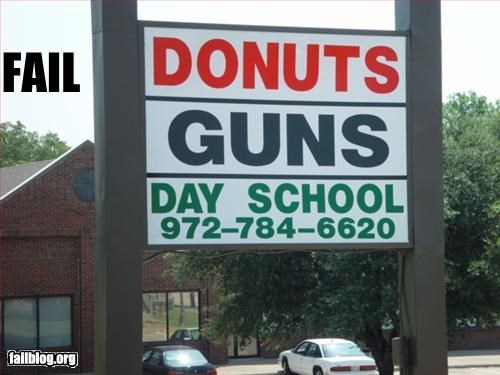 donuts g rated guns juxtaposition mini mall school signs