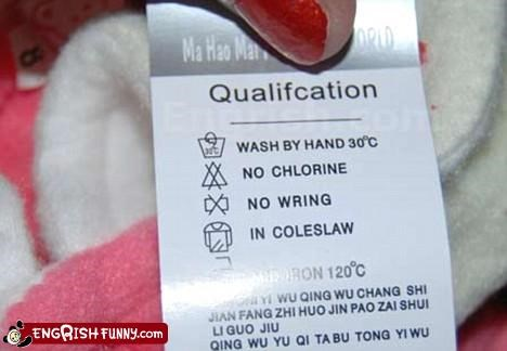 No Coleslaw?? Whaaat?? :( Wash by hand 30C No chlorine No wring In coleslaw
