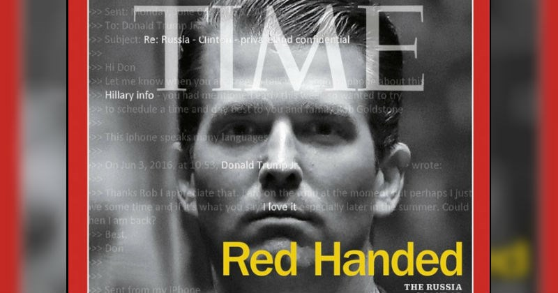 Donald Trump Jr. gets a Time cover that makes reference to recent controversy surrounding his collusion with Russia.