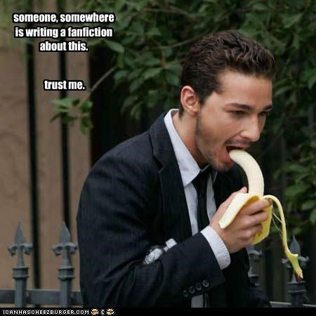 bananas,eating,gay,phallic,shia labeouf