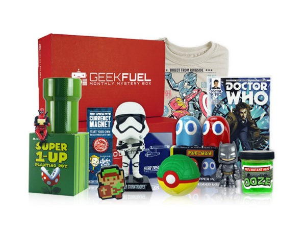 This is an image of a box of many geeky products for the nerd in you, a perfect gift - a cover photo for a gift list