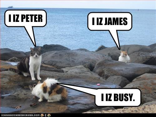 I IZ PETER I IZ JAMES I IZ BUSY.