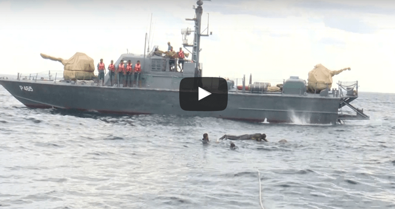a photo of a navy ship in the sri lanka ocean trying to save an elephant