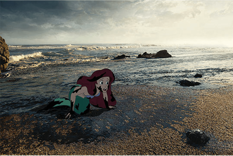 a picture of arielle from the little mermaid looking scared and weak in tar crawling on the sand were there is also so much pollution, showing that the oceans are polluted and she cannot survive - cover for a collection of artwork of disney characters who thought they had happy ending but didn't because of the words problem.