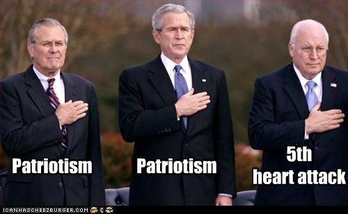 Dick Cheney,donald rumsfeld,george w bush,heart attack,patriotic,president,Republicans,secretary of defense,vice president