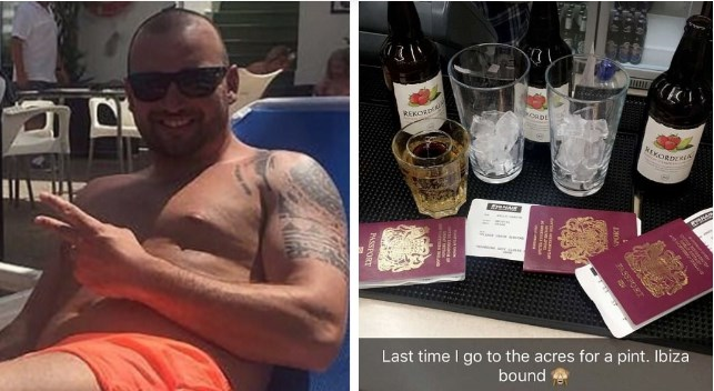 Guy texts girlfriend that he's going to a bar for a drink and ends up hopping a plane to Ibiza with buddies to party like crazy.