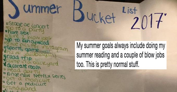 List regarding teen's summer 2017 bucket list and twitter reactions.