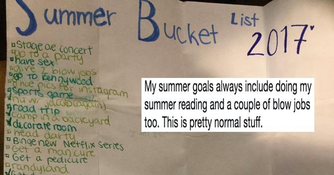 List regarding teen's summer 2017 bucket list and twitter reactions.