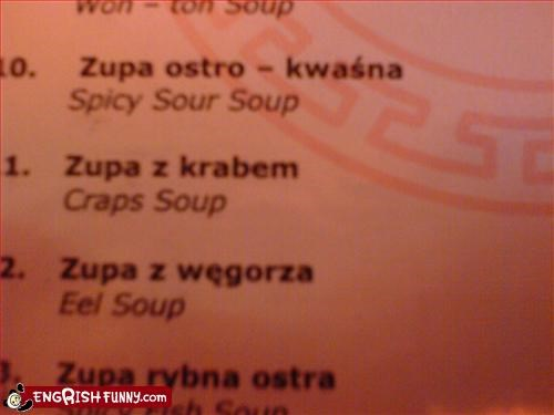 crap g rated menu restaurant soup - 2804408320