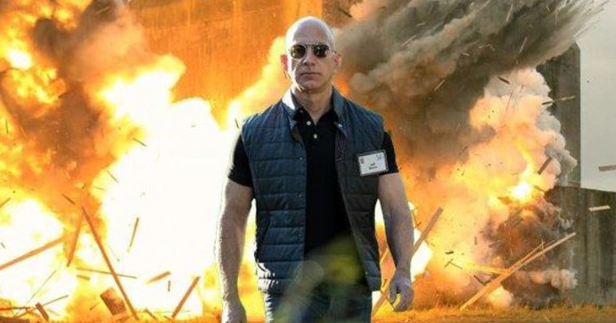 Collection of photoshop memes of Jeff Bezos of Amazon looking muscular.