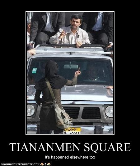 iran,Mahmoud Ahmadinejad,protesters,the finger,tiananmen square