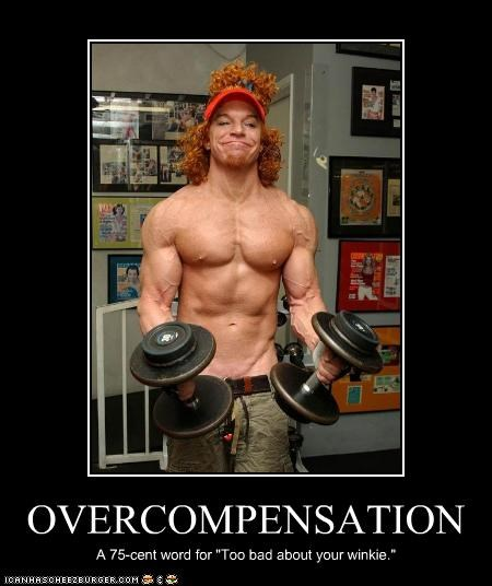 """OVERCOMPENSATION A 75-cent word for """"Too bad about your winkie."""""""