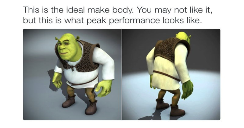 Collection of memes about the ideal male body, a twitter meme with Shrek, nintendo, wario, toad, sonic the hedgehog.