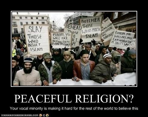 PEACEFUL RELIGION? Your vocal minority is making it hard for the rest of the world to believe this