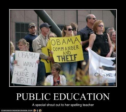 barack obama democrats misspelling president protesters signs teabaggers - 2833283328