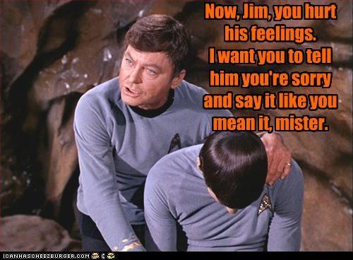 bones,DeForest Kelley,Leonard Nimoy,sci fi,sorry,Spock,Star Trek