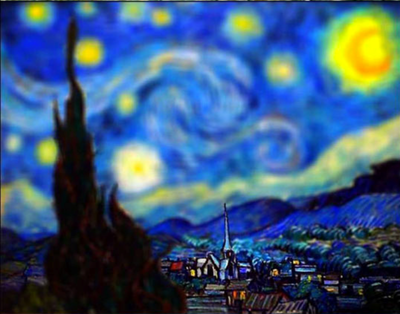a beautiful picture of one of vincent van goghs paintings in tilt effect