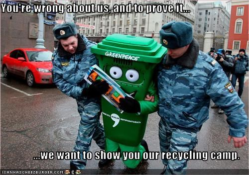 greenpeace police protesters recycling - 2841880832