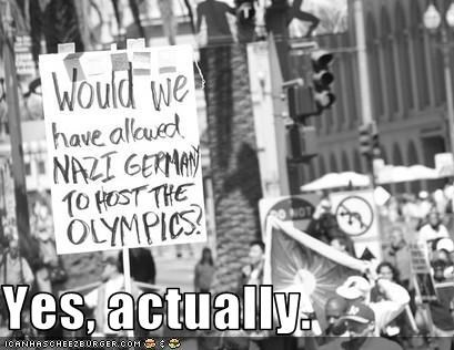 China Germany nazis olympics protesters signs - 2859041792