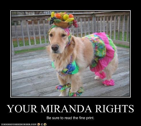 YOUR MIRANDA RIGHTS Be sure to read the fine print.