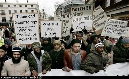 g g g g g g g g g g Islam and Scientology ************ Virgins Spaceships Adventure Tom Cruise g g g g Rent this sign $19.95
